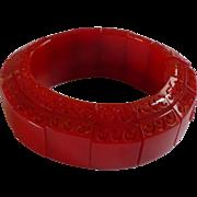 Carved Red Bakelite Stretch Bracelet