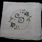 SOLD Initial S Handkerchief