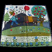 SOLD Colorful Boy & Cow Handkerchief