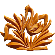 Carved Bakelite Egret Pin