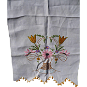 Embroidered Floral Towel