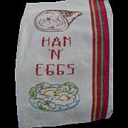 Ham Eggs Embroidered  Towel