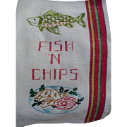 Fish Chips Embroidered Towel