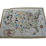 SOLD Embroidered USA Map 1944