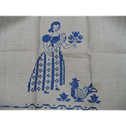 Embroidered Girl Flowers & Chicken