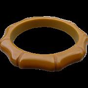 Ochre Bakelite Carved Bracelet