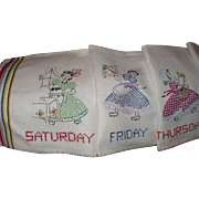 Gingham Girl Days of Week Towels