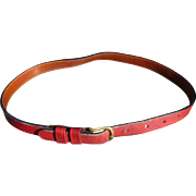 Narrow Coach Red Leather Belt