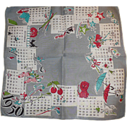 1950 Calendar Handkerchief