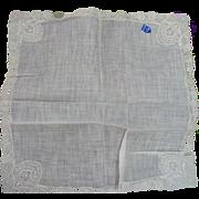 Linen Lace Wedding Handkerchief