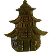 Carved Bakelite Pagoda Pin