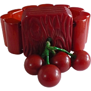 Bakelite Cherry Stretch Bracelet