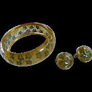 Applejuice Reverse Carved Bakelite Bracelet & Earrings