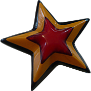 3 Color Cast Bakelite Star Pin