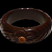 Brown Floral Bakelite Bracelet