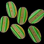 Six Applejuice Green Bakelite Buttons