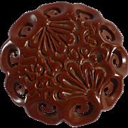 Carved Floral Bakelite Pin