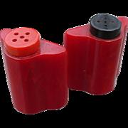 Red Bakelite Salt & Pepper Set