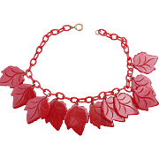 Bakelite Red Leaf Necklace