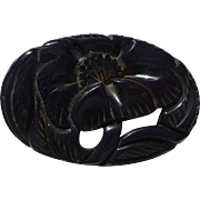 Black Carved Bakelite Floral Pin