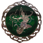 Sterling Enamel  Siam Round Pin