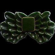 Green Bakelite Bow Pin