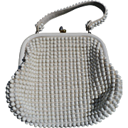 Grandee White Beaded Purse