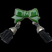 Bakelite Bow Tassel Pin