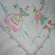 Vintage Hand Embroidered Figural Tablecloth