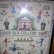 Good Old College Days Embroidered Sampler