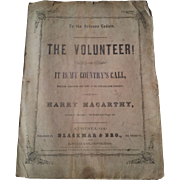 Antique 1861 Civil War Era Sheet Music The Volunteer!