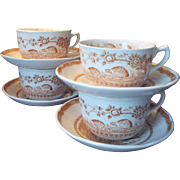 Four Sets Brown Furnivals Transferware Quail Cups and Saucers