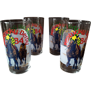 Set of Four Vintage Kentucky Derby Glasses 1984
