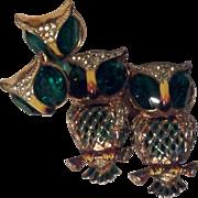 SOLD Vintage Owl Corocraft Coroduette Brooch Set with Earrings