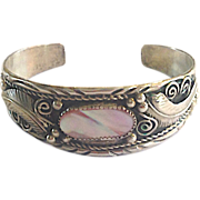 REDUCED Signed JM Sterling Southwestern Navajo Cuff with Pink Mother of Pearl center stone