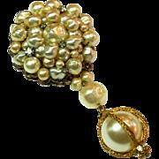 REDUCED Signed DeMario Faux Baroque Pearl Drop Brooch circa 1950