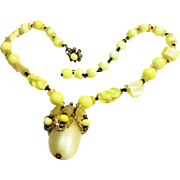 REDUCED Signed Miriam Haskell Art Glass & Mother of Pearl Necklace c. 1950