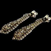 Signed Weiss Clear Rhinestone Shoulder Duster Earrings c. 50