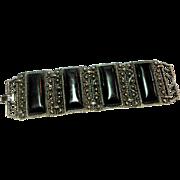 Unsigned Silver Tone w/ Black Lucite Stones Wide Statement Bracelet c. 60