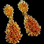 REDUCED Signed Panetta Gold Tone Sea Urchin - Nugget Drop Earrings circa 1970