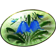 Signed OPRO Sterling Oval Guilloche Blue Bells Pin circa 1950