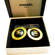 Signed in Original Box Chanel Black & Gold Plated Button Style Clip Earrings c. 1990