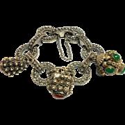 Signed Franconeri Thick Etruscan Bracelet w/ Three Fobs c. 1930