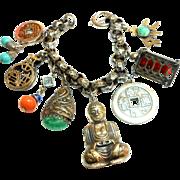 Signed Napier Asian Themed Chunky Charm Bracelet circa 1960