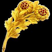 Signed Hattie Carnegie Gold Tone Red Rhinestone Flower Brooch c. 60