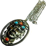 Depression Era Indian Pendent Necklace with Imitation Coral & Turquoise Cabochons