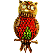 REDUCED Signed Florenza Gold Tone & Enamel Owl Brooch w/ Googly Eyes c. 60