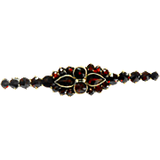Czechoslovakian Rose Cut Garnet Bar Pin circa 1920