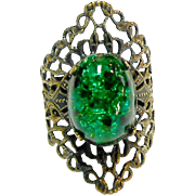 Signed Kim Brass Filigree Ring w/ Peacock Art Glass Cabochon
