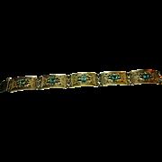 Signed Sterling w/ a Hallmark Paste Link Bracelet circa 1940